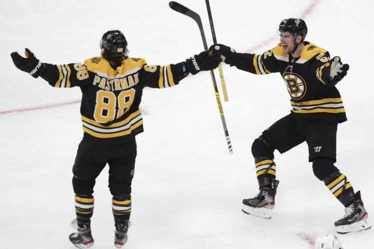 David Pastrnak 7th NHL hat trick celebration
